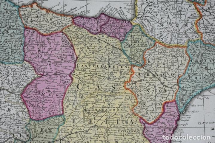 Arte: Gran mapa a color de España y Portugal, hacia 1750. Delisle/Seutter - Foto 7 - 223094152