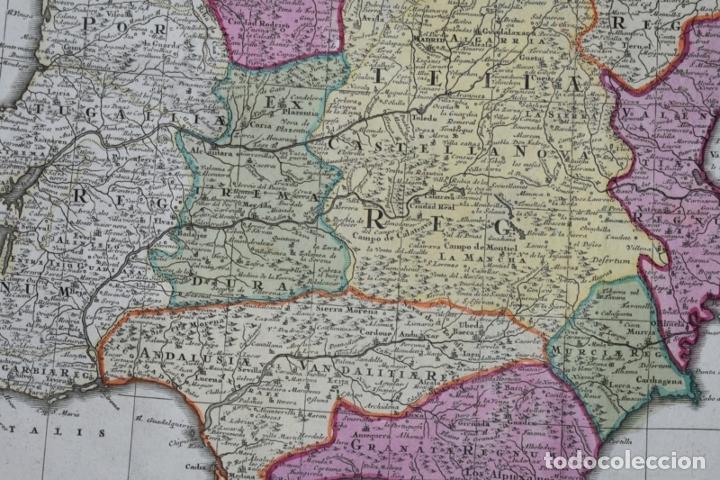 Arte: Gran mapa a color de España y Portugal, hacia 1750. Delisle/Seutter - Foto 8 - 223094152