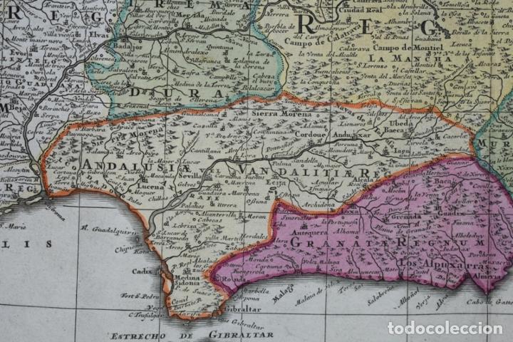 Arte: Gran mapa a color de España y Portugal, hacia 1750. Delisle/Seutter - Foto 9 - 223094152
