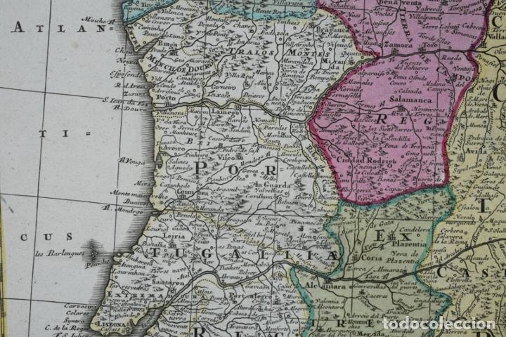 Arte: Gran mapa a color de España y Portugal, hacia 1750. Delisle/Seutter - Foto 10 - 223094152