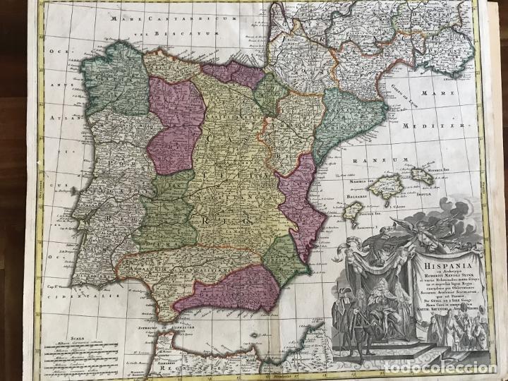 Arte: Gran mapa a color de España y Portugal, hacia 1750. Delisle/Seutter - Foto 12 - 223094152