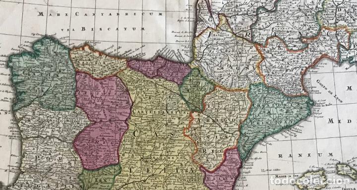Arte: Gran mapa a color de España y Portugal, hacia 1750. Delisle/Seutter - Foto 13 - 223094152