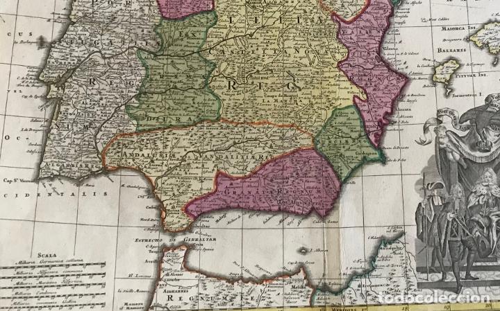 Arte: Gran mapa a color de España y Portugal, hacia 1750. Delisle/Seutter - Foto 14 - 223094152