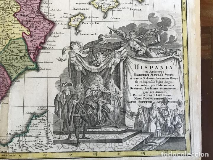 Arte: Gran mapa a color de España y Portugal, hacia 1750. Delisle/Seutter - Foto 16 - 223094152
