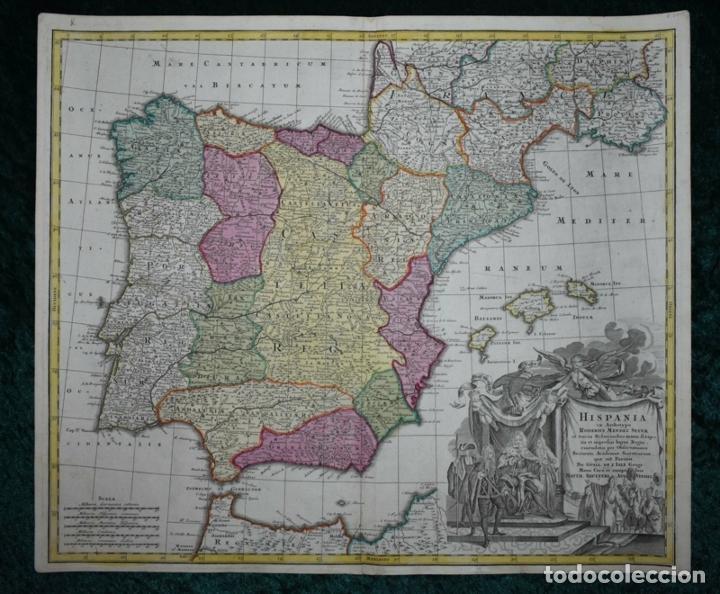 GRAN MAPA A COLOR DE ESPAÑA Y PORTUGAL, HACIA 1750. DELISLE/SEUTTER (Arte - Cartografía Antigua (hasta S. XIX))