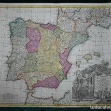 Arte: GRAN MAPA A COLOR DE ESPAÑA Y PORTUGAL, HACIA 1750. DELISLE/SEUTTER. Lote 223094152