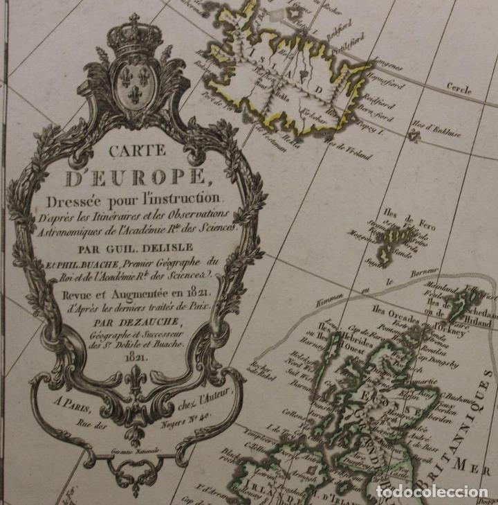 Arte: Gran mapa de Europa, 1821. Delisle/Buache/Dezauche - Foto 2 - 223142768