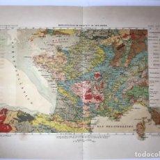 Arte: GRABADO ANTIGUO. MAPA GEOLOGICO FRANCIA / CARTE GEOLOGIQUE. SIGLO XIX. VIUDA DE ROLDAN (MADRID).. Lote 223198357
