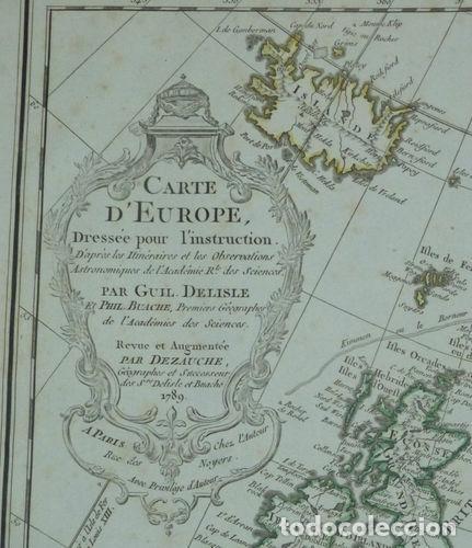 Arte: Gran mapa de Europa, 1789. Delisle/Buache/Dezauche - Foto 2 - 223228585