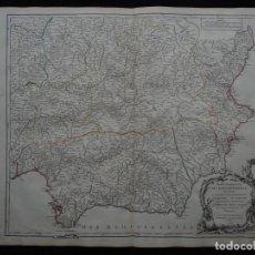 Arte: GRAN MAPA DE GRANADA, MURCIA Y CASTILLA (ESPAÑA), 1751. VAUGONDY. Lote 223688147