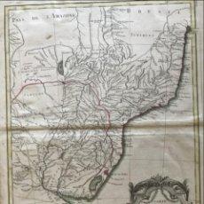 Arte: GRAN MAPA DE SUR DE BRASIL, PARAGUAY Y URUGUAY (AMÉRICA DEL SUR), 1782. BONNE/LATTRE. Lote 224380825