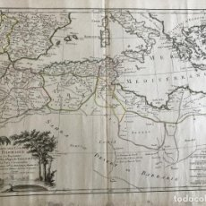 Arte: GRAN MAPA DEL NORTE DE ÁFRICA Y MAR MEDITERRÁNEO (EUROPA), 1762. BONNE/LATTRE. Lote 224384821