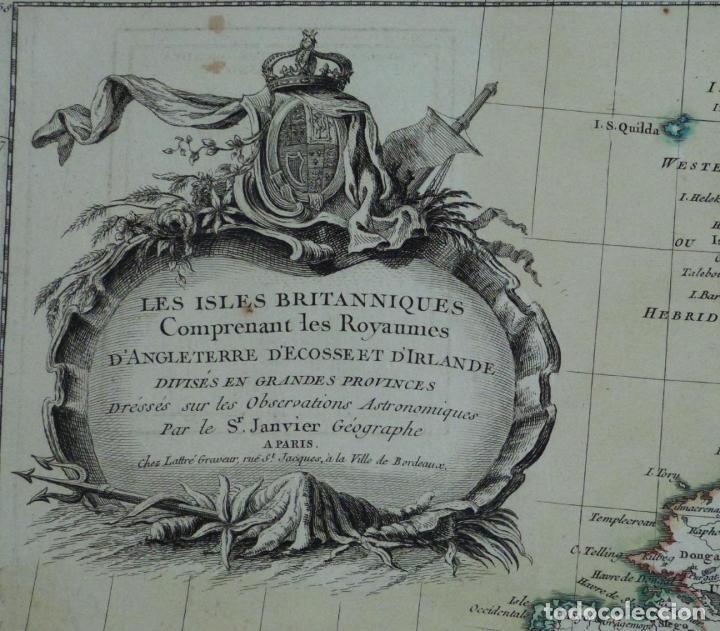 Arte: Gran mapa de las islas de Irlanda y Reino Unido, 1771. Janvier/Lattre - Foto 2 - 224386266