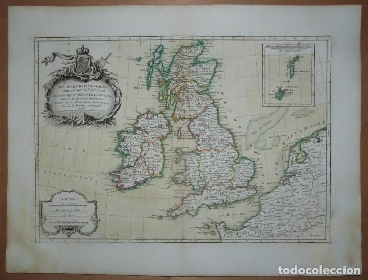 GRAN MAPA DE LAS ISLAS DE IRLANDA Y REINO UNIDO, 1771. JANVIER/LATTRE (Arte - Cartografía Antigua (hasta S. XIX))