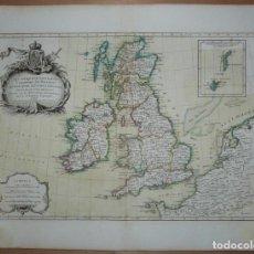 Arte: GRAN MAPA DE LAS ISLAS DE IRLANDA Y REINO UNIDO, 1771. JANVIER/LATTRE. Lote 224386266