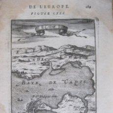 Arte: MAPA Y VISTA DEL PUERTO Y LA BAHÍA DE CÁDIZ (ESPAÑA), 1683. MALLET. Lote 224767730