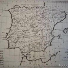 Arte: MAPA DE ESPAÑA Y PORTUGAL, HACIA 1780. BONNE/ANDRÉ. Lote 224900226