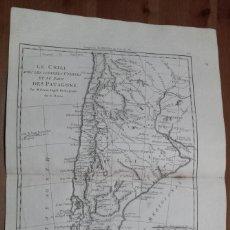 Arte: MAPA DE CHILE Y ARGENTINA (AMÉRICA DEL SUR), 1788. BONNE/DESMAREST/SCATTAGLIA. Lote 224913152