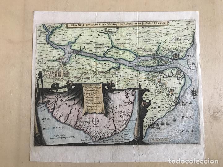 Arte: Gran mapa a color de la capitanía de Paraíba en Brasil (América del sur), 1680. M. Merian/Gottfried - Foto 2 - 225039730