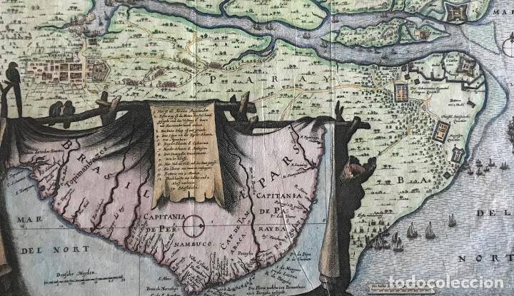 Arte: Gran mapa a color de la capitanía de Paraíba en Brasil (América del sur), 1680. M. Merian/Gottfried - Foto 3 - 225039730