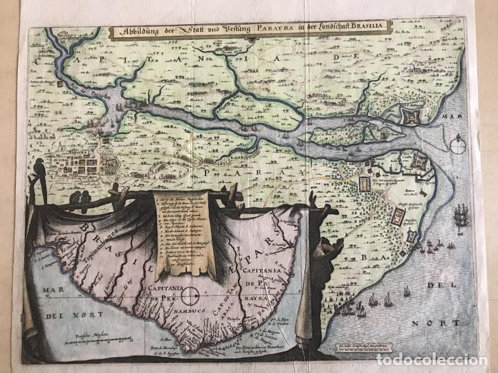 Arte: Gran mapa a color de la capitanía de Paraíba en Brasil (América del sur), 1680. M. Merian/Gottfried - Foto 4 - 225039730