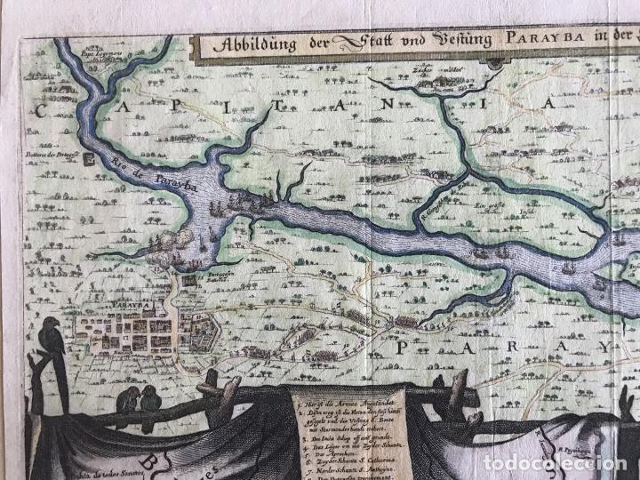 Arte: Gran mapa a color de la capitanía de Paraíba en Brasil (América del sur), 1680. M. Merian/Gottfried - Foto 5 - 225039730