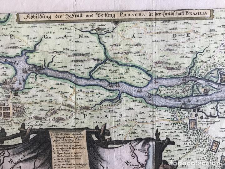 Arte: Gran mapa a color de la capitanía de Paraíba en Brasil (América del sur), 1680. M. Merian/Gottfried - Foto 6 - 225039730