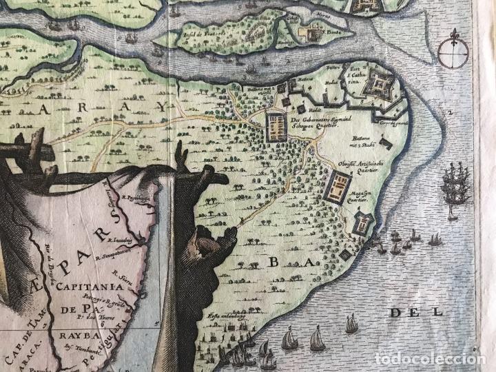 Arte: Gran mapa a color de la capitanía de Paraíba en Brasil (América del sur), 1680. M. Merian/Gottfried - Foto 8 - 225039730