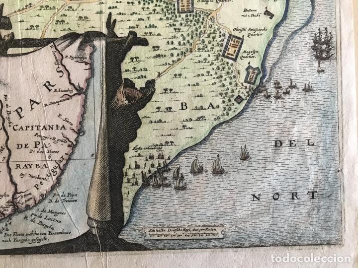 Arte: Gran mapa a color de la capitanía de Paraíba en Brasil (América del sur), 1680. M. Merian/Gottfried - Foto 9 - 225039730