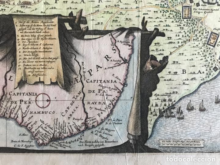 Arte: Gran mapa a color de la capitanía de Paraíba en Brasil (América del sur), 1680. M. Merian/Gottfried - Foto 10 - 225039730