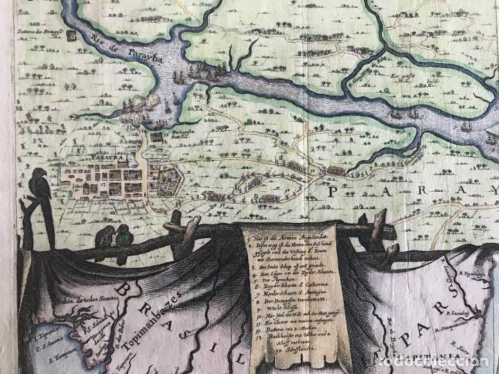 Arte: Gran mapa a color de la capitanía de Paraíba en Brasil (América del sur), 1680. M. Merian/Gottfried - Foto 12 - 225039730