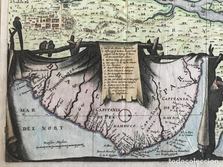 Arte: Gran mapa a color de la capitanía de Paraíba en Brasil (América del sur), 1680. M. Merian/Gottfried - Foto 13 - 225039730