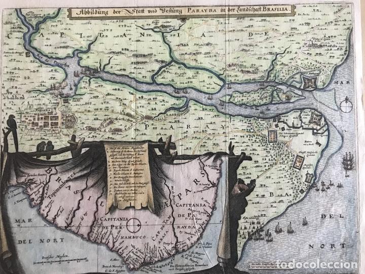 Arte: Gran mapa a color de la capitanía de Paraíba en Brasil (América del sur), 1680. M. Merian/Gottfried - Foto 14 - 225039730