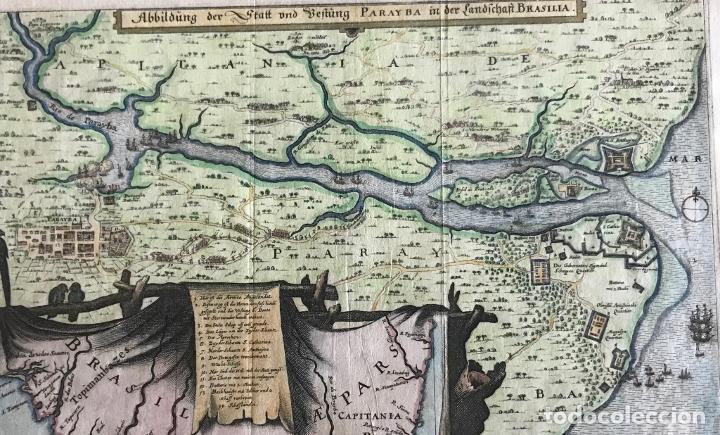 GRAN MAPA A COLOR DE LA CAPITANÍA DE PARAÍBA EN BRASIL (AMÉRICA DEL SUR), 1680. M. MERIAN/GOTTFRIED (Arte - Cartografía Antigua (hasta S. XIX))
