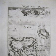 Arte: VISTA Y MAPA DE LA ISLA DE MADEIRA Y PORTO SANTO (PORTUGAL), 1719. MALLET. Lote 225104945