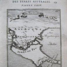 Arte: MAPA DEL ESTRECHO DE MAGALLANES Y TIERRA DE FUEGO (AMÉRICA DEL SUR), 1683. MALLET. Lote 225109795