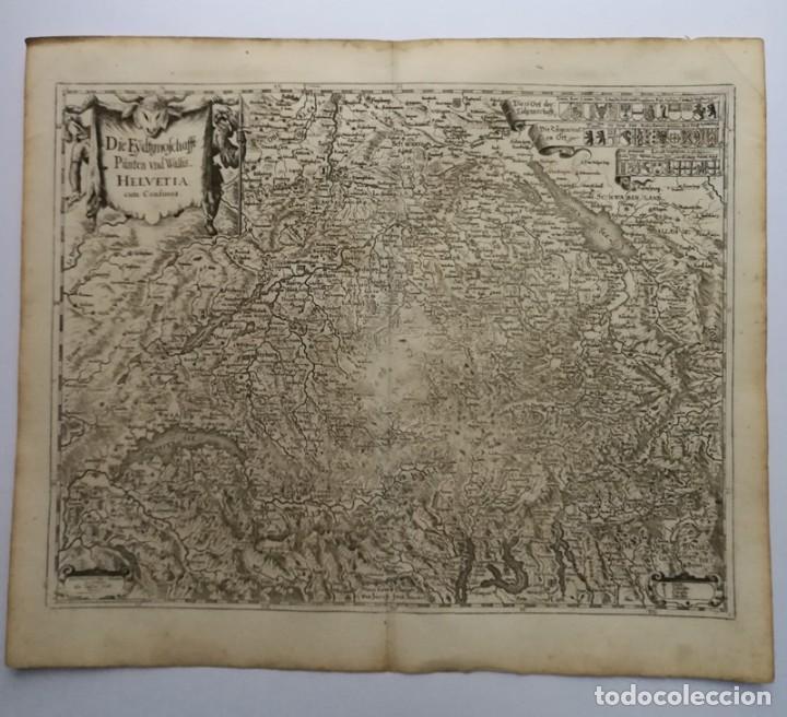 MAPA ANTIGUO SIGLO XVII EYDTGNOSCHAFFT PUNTEN WALLIS HELVETIA CONFINIJS SUIZA 1646 MATTHAUS MERIAN (Arte - Cartografía Antigua (hasta S. XIX))