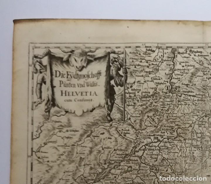 Arte: Mapa antiguo siglo XVII Eydtgnoschafft Punten Wallis Helvetia Confinijs Suiza 1646 Matthaus Merian - Foto 2 - 225154758