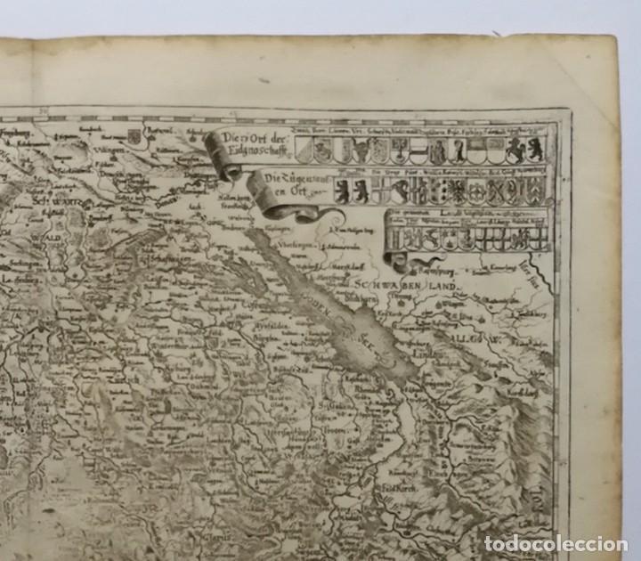 Arte: Mapa antiguo siglo XVII Eydtgnoschafft Punten Wallis Helvetia Confinijs Suiza 1646 Matthaus Merian - Foto 3 - 225154758
