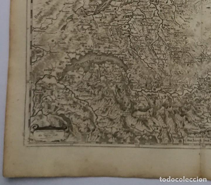 Arte: Mapa antiguo siglo XVII Eydtgnoschafft Punten Wallis Helvetia Confinijs Suiza 1646 Matthaus Merian - Foto 4 - 225154758