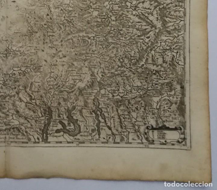 Arte: Mapa antiguo siglo XVII Eydtgnoschafft Punten Wallis Helvetia Confinijs Suiza 1646 Matthaus Merian - Foto 5 - 225154758