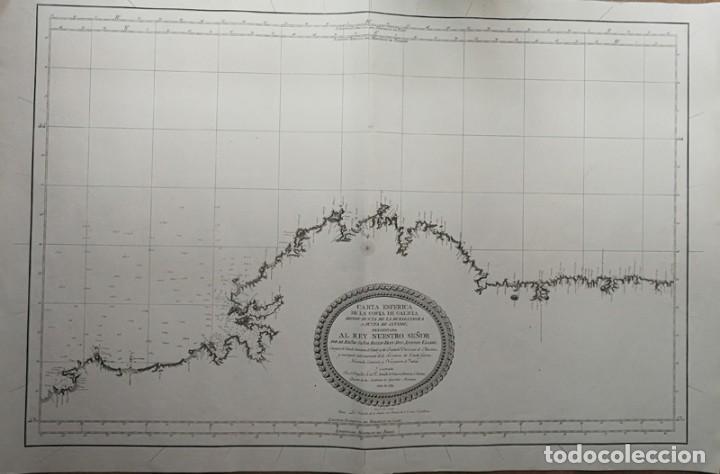 CARTA NAUTICA ANTIGUA SIGLO XVIII 1789 CARTA ESFERICA GALICIA BUELGANEGRA CATASOL TOFIÑO (Arte - Cartografía Antigua (hasta S. XIX))