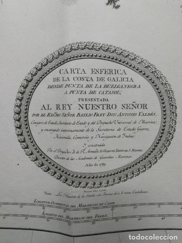 Arte: Carta nautica antigua siglo XVIII 1789 Carta esferica Galicia Buelganegra Catasol Tofiño - Foto 2 - 225244920