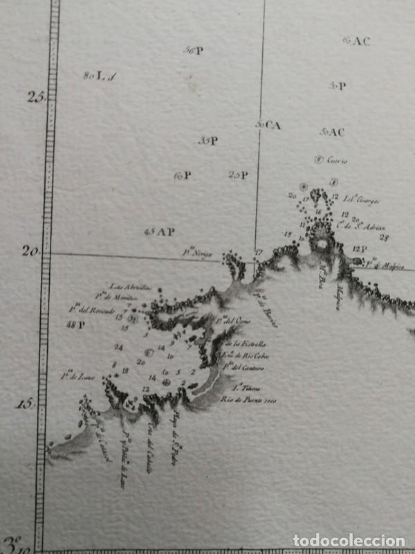 Arte: Carta nautica antigua siglo XVIII 1789 Carta esferica Galicia Buelganegra Catasol Tofiño - Foto 3 - 225244920