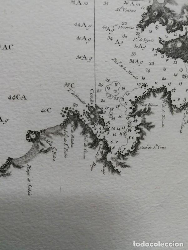 Arte: Carta nautica antigua siglo XVIII 1789 Carta esferica Galicia Buelganegra Catasol Tofiño - Foto 5 - 225244920