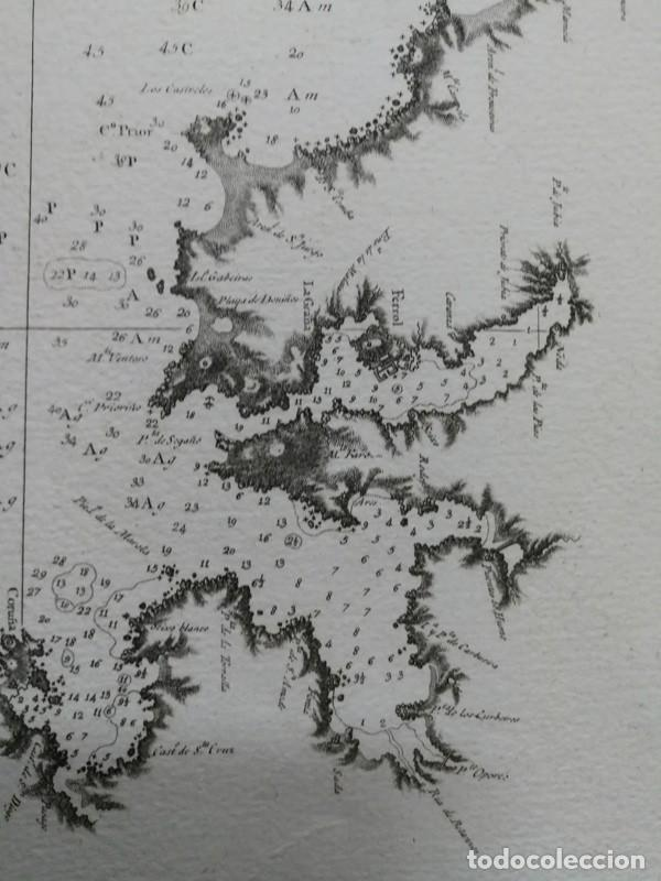 Arte: Carta nautica antigua siglo XVIII 1789 Carta esferica Galicia Buelganegra Catasol Tofiño - Foto 6 - 225244920