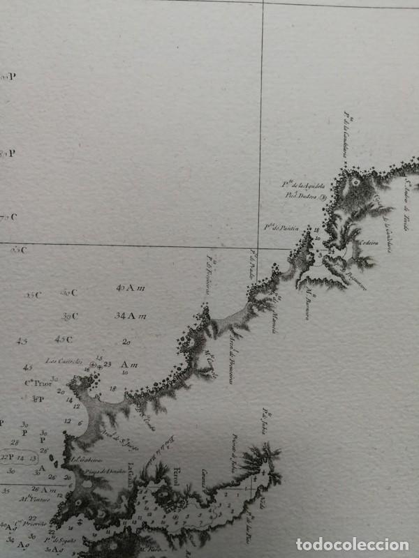 Arte: Carta nautica antigua siglo XVIII 1789 Carta esferica Galicia Buelganegra Catasol Tofiño - Foto 7 - 225244920