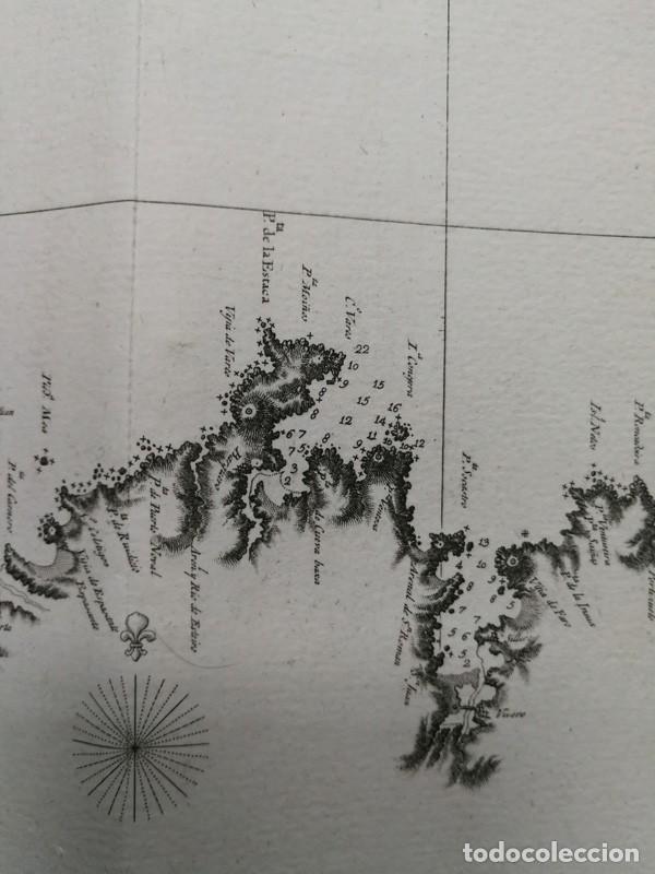 Arte: Carta nautica antigua siglo XVIII 1789 Carta esferica Galicia Buelganegra Catasol Tofiño - Foto 9 - 225244920