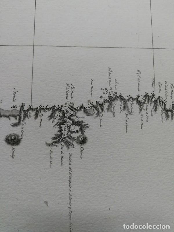 Arte: Carta nautica antigua siglo XVIII 1789 Carta esferica Galicia Buelganegra Catasol Tofiño - Foto 11 - 225244920