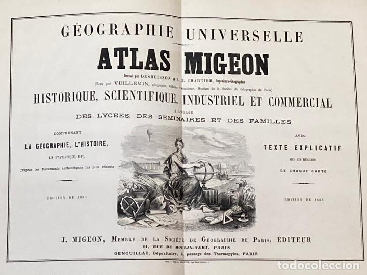 AÑO 1883 - ATLAS MIGEON GEOGRAPHIE UNIVERSELLE 43 MAPAS CON GRABADOS - CARTOGRAFÍA (Arte - Cartografía Antigua (hasta S. XIX))